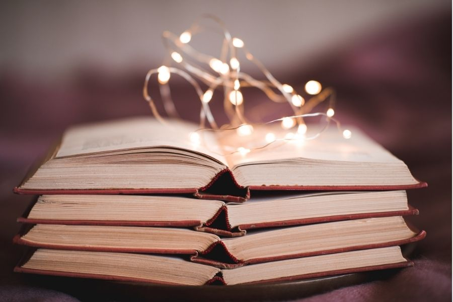 Book with fairy lights on top